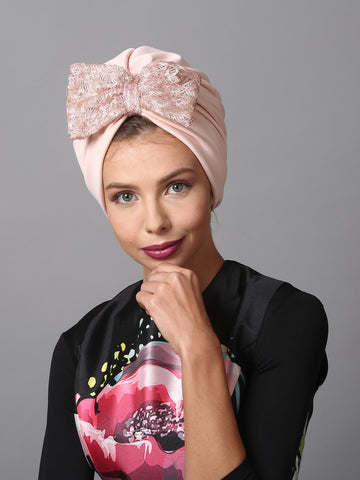 Pink sequin bow turban