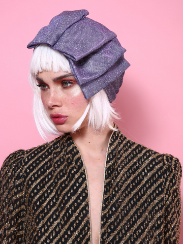 Glam Pleat Turban in Glitter Pink-Purple