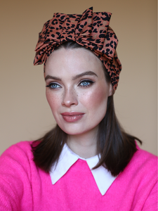 Leopard bow turban hat