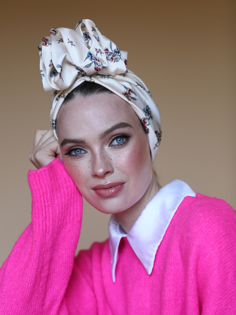 White floral head wrap