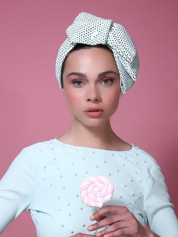 Sequin Pleat Turban in Light Blue
