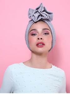 Sparkle Glitter Lurex Turban in Grey