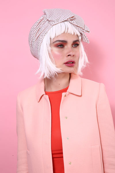 Sequin Pleat Turban in Light Pink