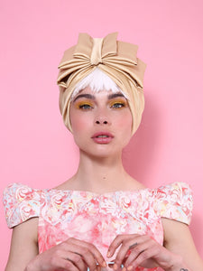 Oria Bow Turban in Shiny Gold-Mustard