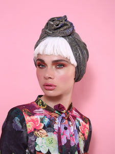 Flower Turban in Sparkle Glitter Gold