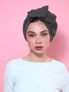 Glam Pleat Turban in Glitter silver