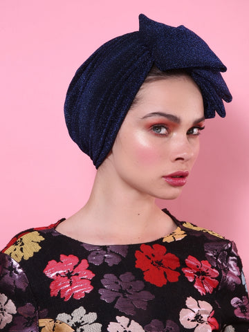 Glam Pleat Turban in Dark Blue