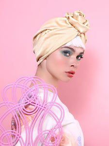 Flower Turban in Shiny Gold-Mustard