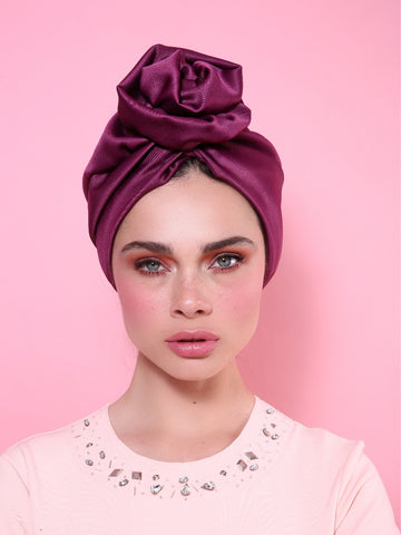 Flower Turban in Shiny Purple