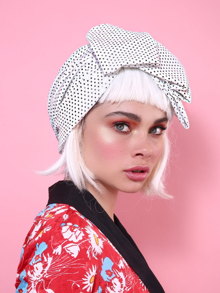 Sequin Pleat Turban in White