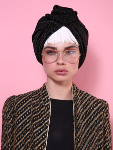 Flower Turban in Sparkle Glitter Black