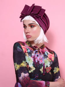 Oria Bow Turban in Shiny Purple