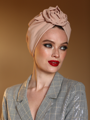 Beige Flower turban