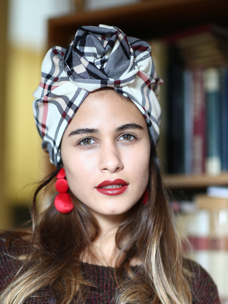 Plaid Flower Turban