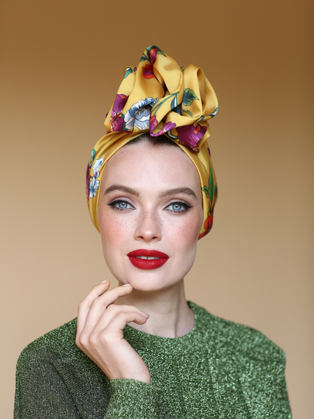 Silk satin floral headwrap
