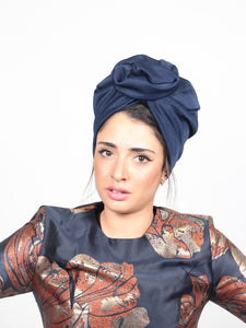 Flower turban in Blue