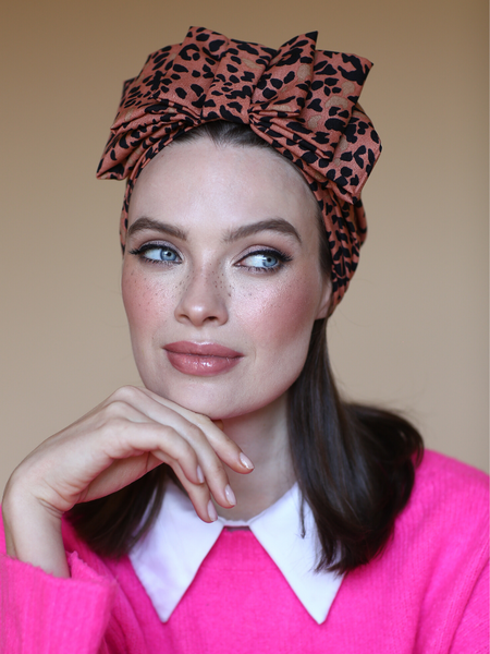 Sparkle Glitter Lurex Turban in Light Pink