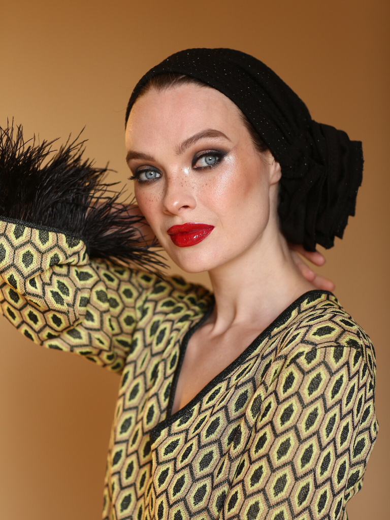 BLACK 3T ROSE TURBAN