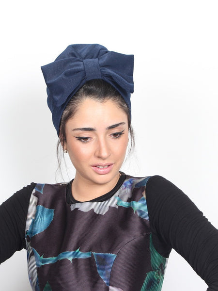 Turban head bow in blue