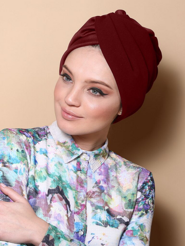 Pleated Twist Turban in Burdungy
