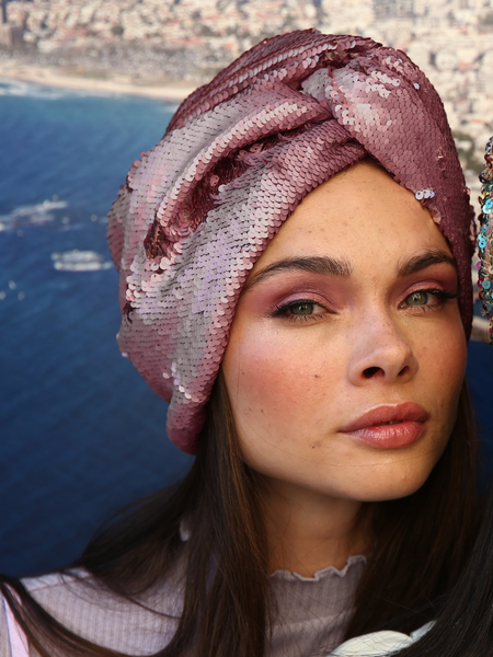 Pink Snake sequin turban