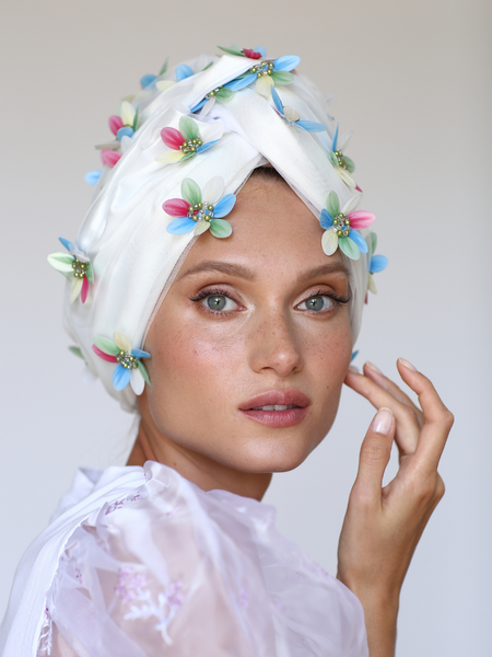 Black floral head wrap