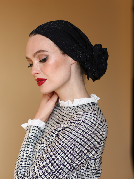 DARK BLUE 3T ROSE TURBAN