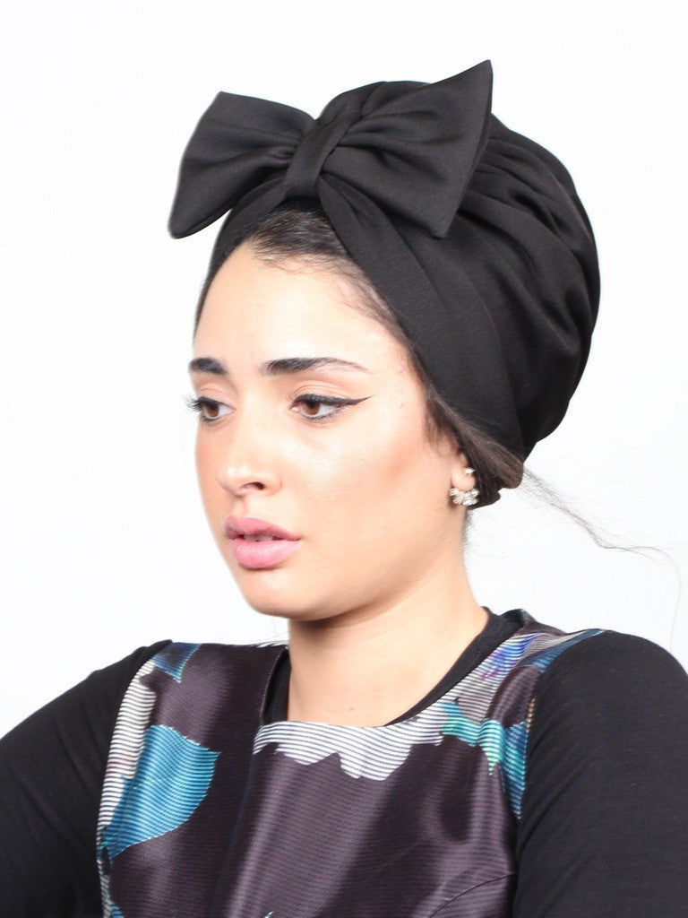 Turban hat bow in black