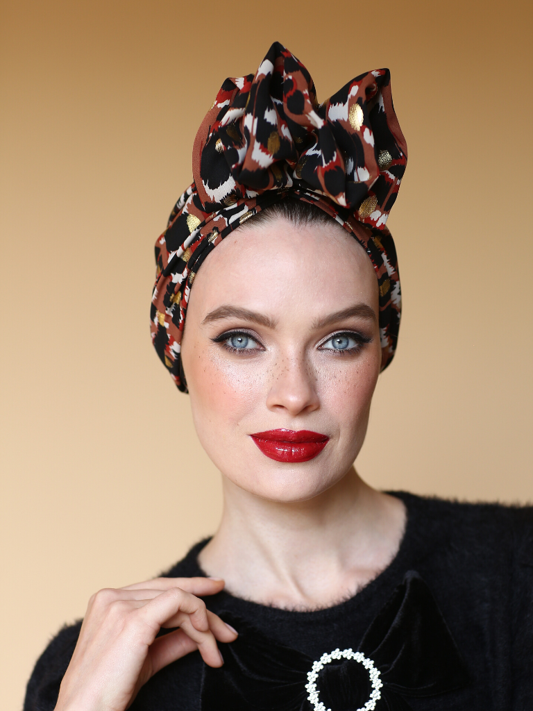 Leopard gold turban head wrap