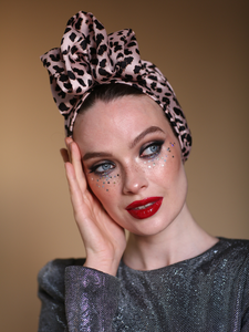 Leopard pink fashion turban