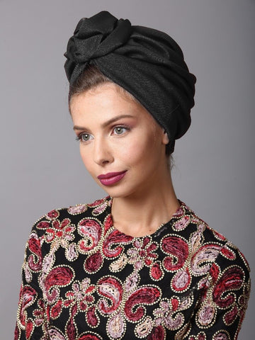 Black Flower turban
