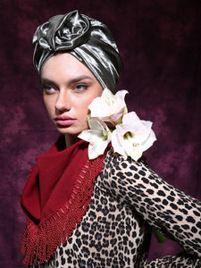 Shiny Flower turban in green