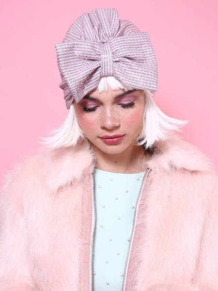 Glitter Shiny Bow Turban in Light Pink
