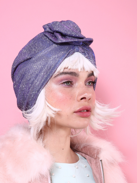 Flower Turban in  Glitter Pink-Purple