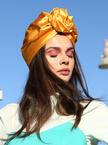 Flower silk Turban in Yellow