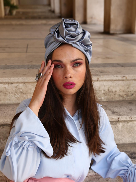 Flower silk Turban in pale blue