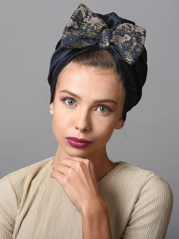 Blue turban w leopard bow
