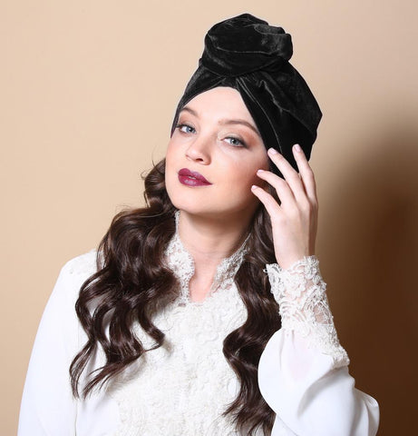 Black Velvet Flower Turban