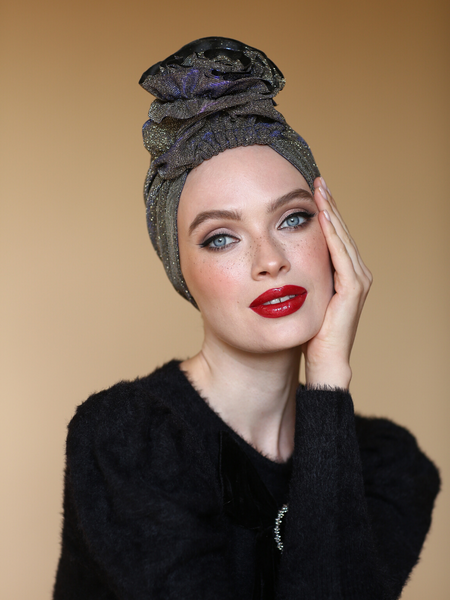 Gliiter gold 3T ROSE TURBAN