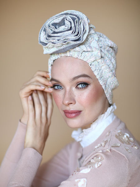 KNIT 3T ROSE TURBAN