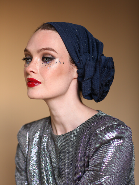 Sparkle Glitter Lurex Turban in Burdungy