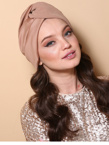 Pleated Twist Turban in Beige