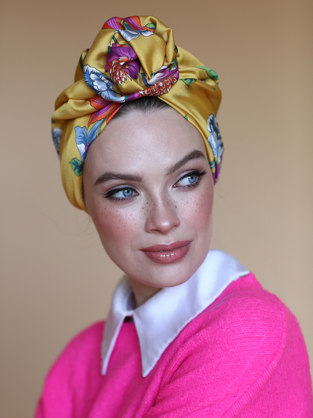 Silk satin Flower turban