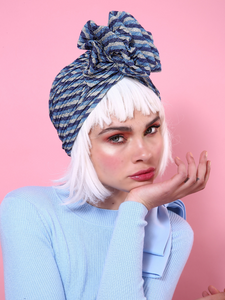 Stripped Glitter Lurex Turban in Blue