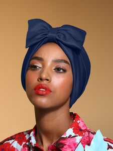 Pre Tied Blue Bow Turban