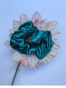 Turquoise Satin Scrunchie