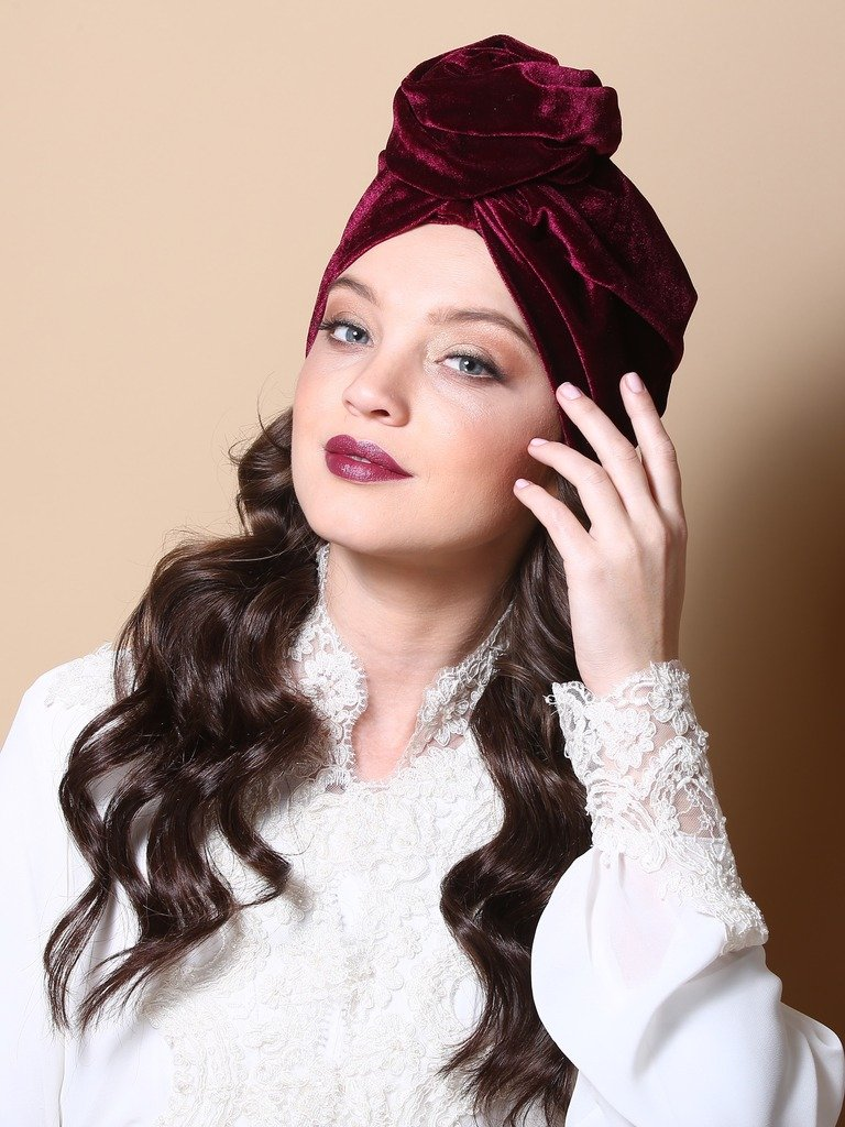 Burdungy Velvet Flower Turban