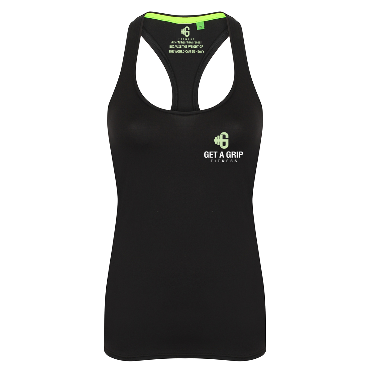 Get A Grip Fitness 'Time To Talk' Ladies Racerback Vest - Mental Health Matters