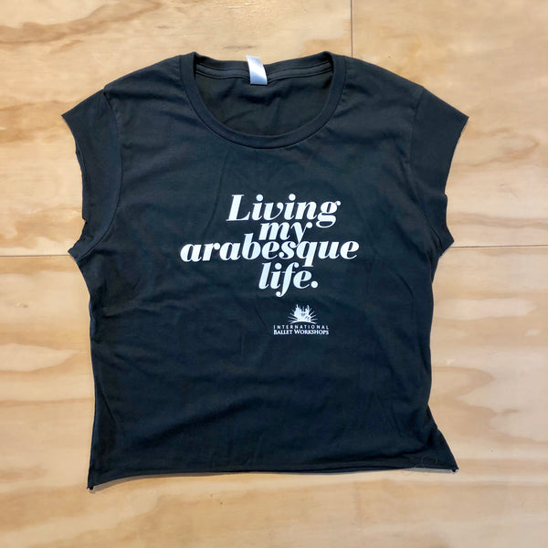 'My Arabesque Life' cropped tee: Ladies Charcoal