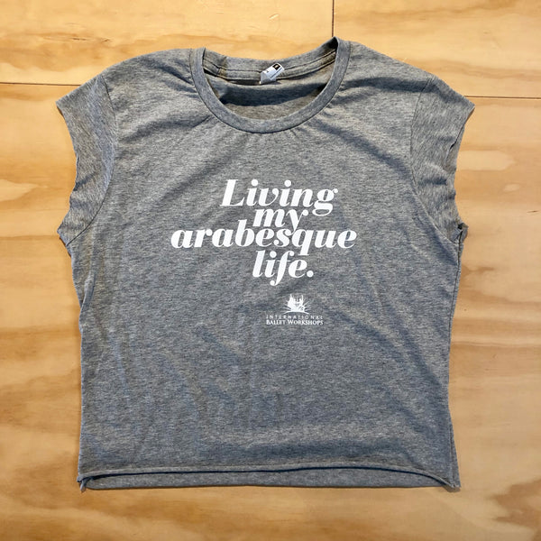 'My Arabesque Life' cropped tee: Ladies Grey Marle